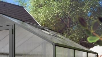 Gewächshaus 'Tulpe', ALU-Dachfenster in Pressblank, Anthrazit oder Moosgrün
