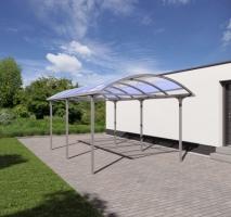 Carport 'Elbe', KGT, Runddach - Silber