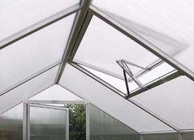 Gewächshaus 'Rose/Orchidee/Lilie', ALU-Dachfenster in Pressblank, Anthrazit oder Moosgrün